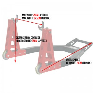 Black-Pro-Range-Aluminum-Rear-Paddock-Stand-Measurements
